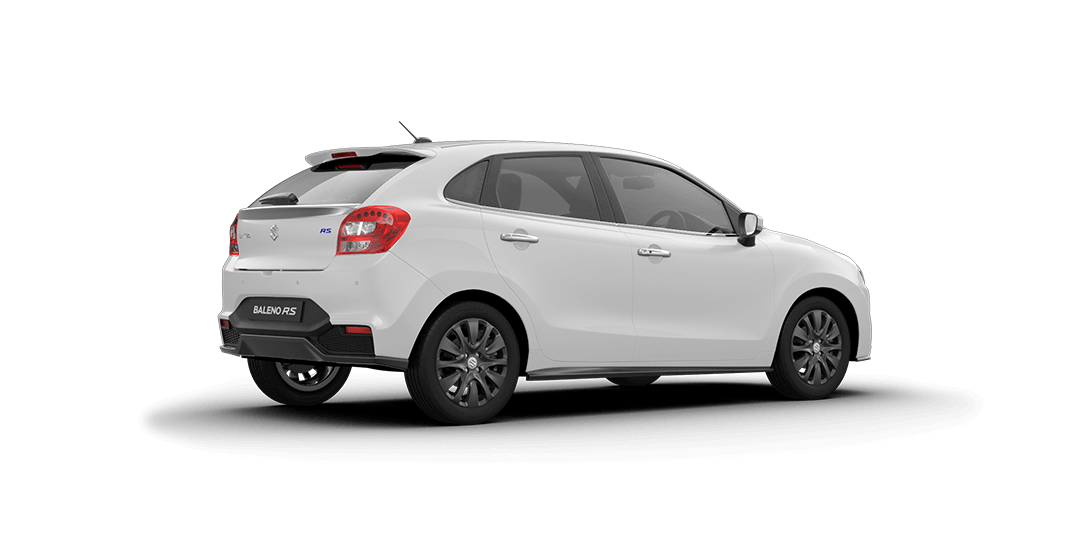 Baleno RS Arctic White Car Back Side View